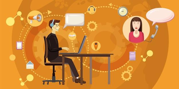 Callcenter horizontales konzept. karikaturillustration des kundenkontaktcenterhintergrundes horizontal