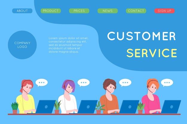 Callcenter, kundenservice, support und hilfe-landingpage. hotline-frauenbetreiber mit kopfhörern und laptop. konzept des telemarketings und der beratung. cartoon-vektor-illustration.