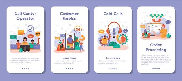Callcenter- oder technische support-bannerset für mobile anwendungen. idee eines kundenservice. der berater hilft einem kunden, indem er ihnen wertvolle informationen liefert. vektorillustration im flachen stil