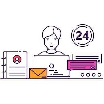 Callcenter und kommunikations-chat unterstützen das flache vektorsymbol des kundendienstes. geschäftskontakt und feedback. agenten am computer bieten qualitativ hochwertige soziale hilfe. admin-berater-helpdesk