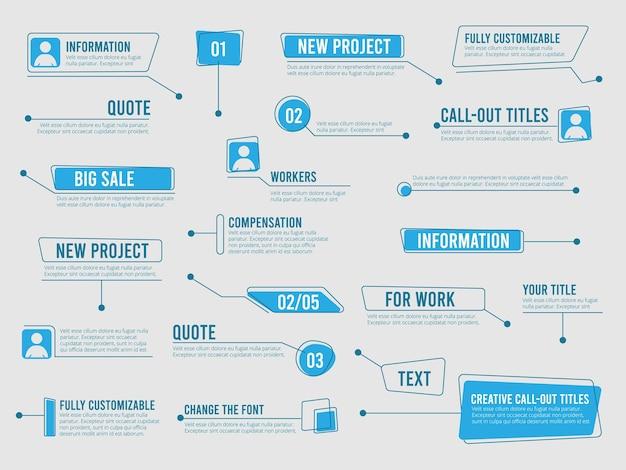 Callouts-vorlage. digitale infoboxen mit modernen einfachen kommunikationsbeschriftungsetiketten des marketingtextes.