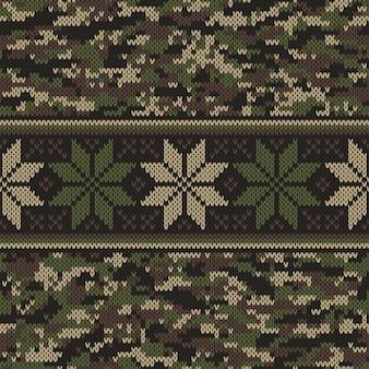 Camouflage style strickpullover muster design. nahtloser vektorhintergrund. wollstrick textur imitation.