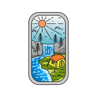 Camp im wasserfall monoline