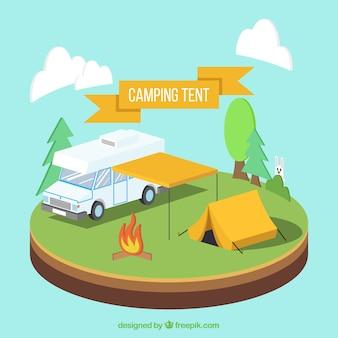 Camp mit einem van und campingzelt