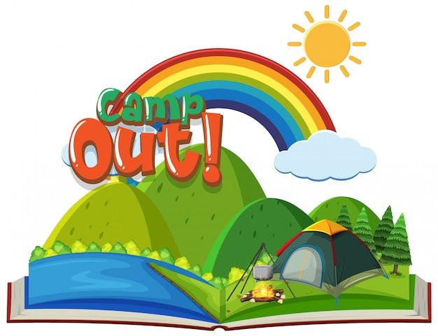 Camp mit zelt im park