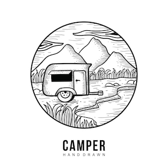 Camper hand gezeichnet