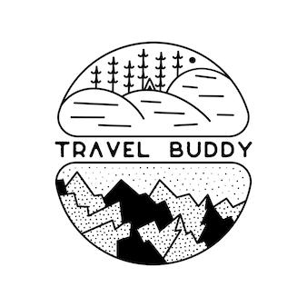 Camping abenteuer abzeichen design. wappenlogo im freien mit bergen und bäumen. reise-silhouette-label isoliert. heilige geometrie. tattoo-grafiketikett.