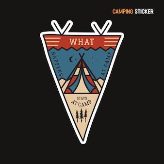 Camping-abenteuer-aufkleber-design. handgezeichnetes emblem der reise