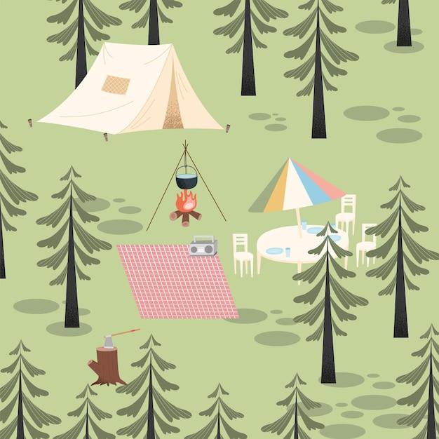 Camping abenteuer szene waldlandschaft
