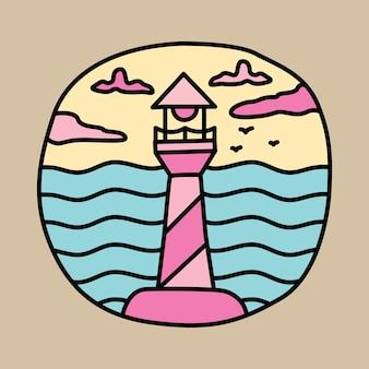 Camping abenteuer und lagerfeuer grafische illustration vektorgrafiken t-shirt designbeauty summer und leuchtturm grafische illustration vektorgrafiken t-shirt design