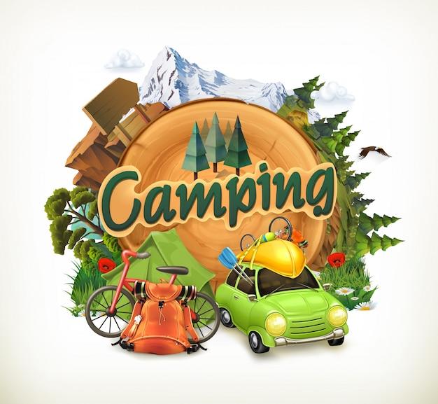 Camping, abenteuerzeit, vektorillustration