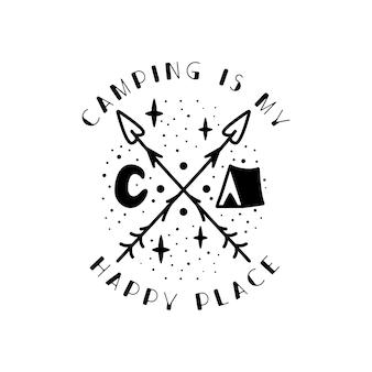 Camping-abzeichen-design. campingwappenlogo mit zelt, luna und zitat - camping ist mein glücklicher ort. reiseetikett isoliert. heilige geometrie. stock tattoo-grafik-emblem,