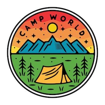 Camping auf dem berg monoline outdoor-abzeichen design