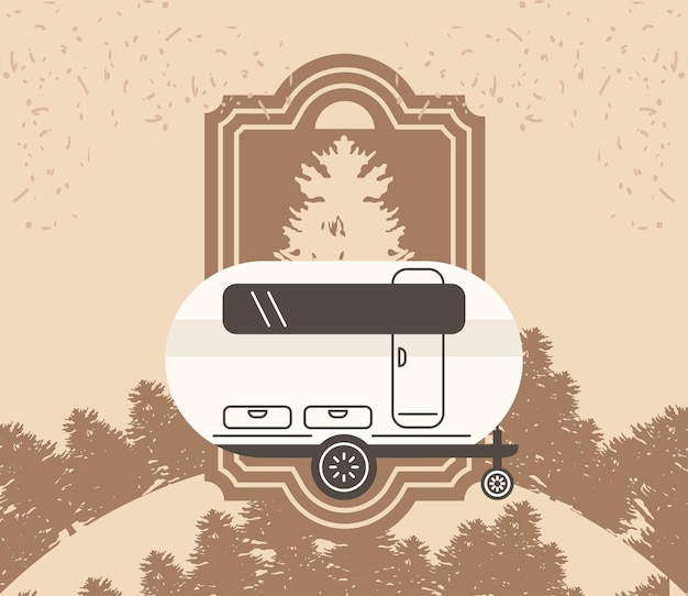 Camping camper auto poster