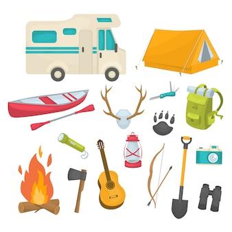 Camping dekorative icons set