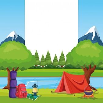 Camping elemente in einer ländlichen landschaft