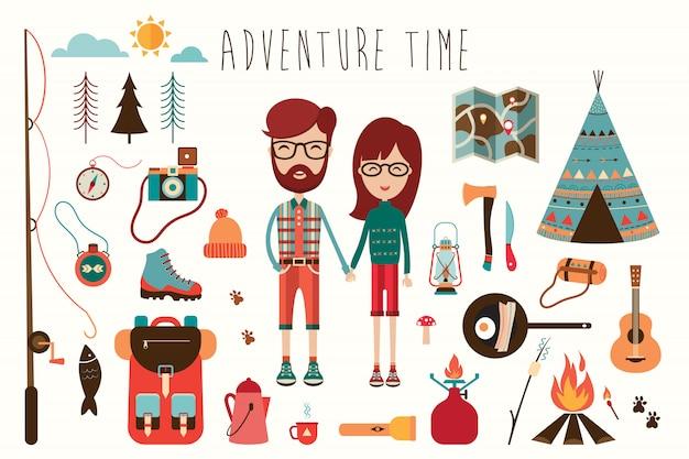 Camping elements-auflistung mit lustigen charakteren (flaches design)