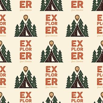 Camping explorer pattern design - outdoors adventure nahtlose hintergrund mit zelt, bäumen. beunruhigter stil. schön für camping-enthusiasten, für t-shirts, kleidung, verpackungen, andere drucke. lager vektor.