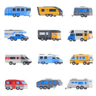 Camping fahrzeuge icon set