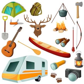 Camping farbige isolierte ikone mit ausrüstungen und elementen des outfits für wandervektorillustration gesetzt