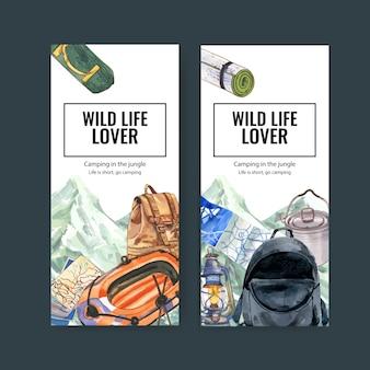 Camping flyer mit zelt, rucksack und boot illustrationen.