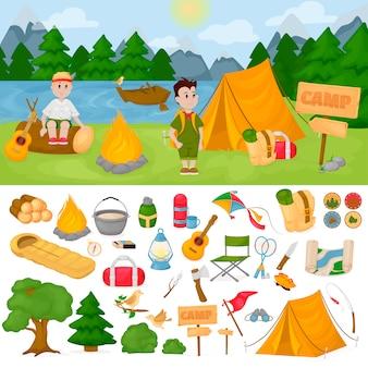 Camping für kinder im sommerlagerpark