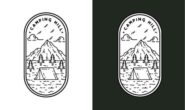 Camping hill monoline illustration