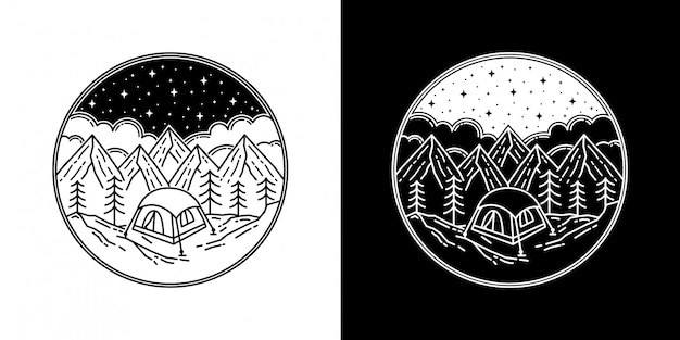 Camping im berg monoline abzeichen design