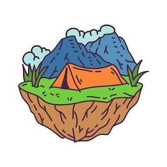 Camping im wilden monoline-abzeichen