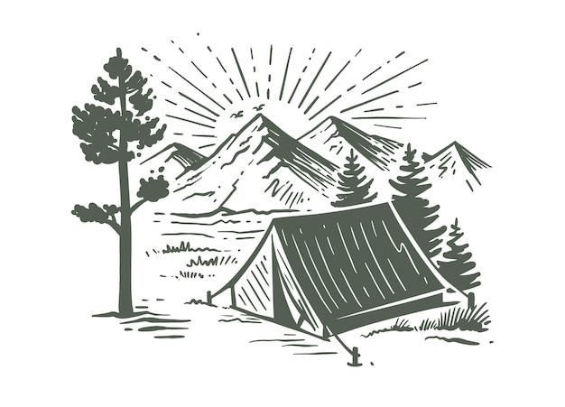 Camping in der natur in der nähe von bergen