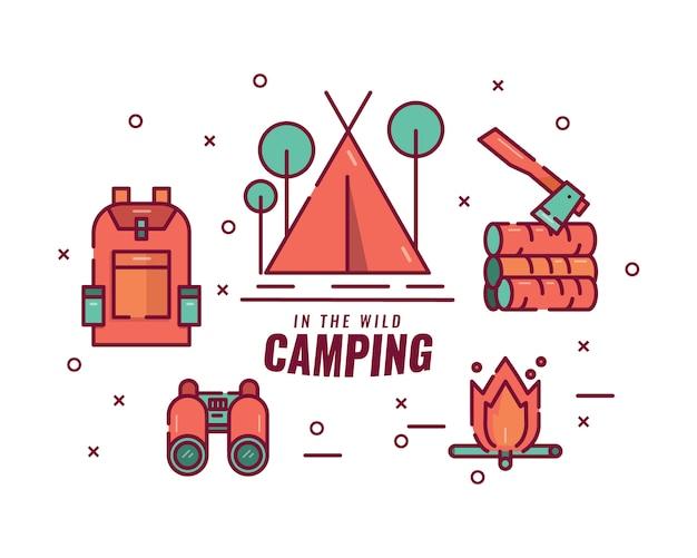 Camping in der wildnis. lagerfeuer, zelt, fernglas, gepäck und axt.