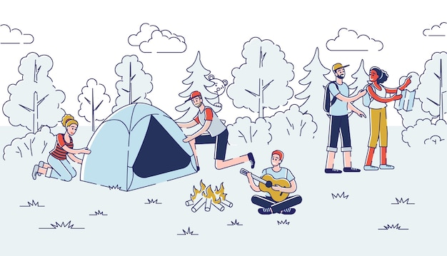 Camping-konzept. die leute haben eine gute zeit im freien.
