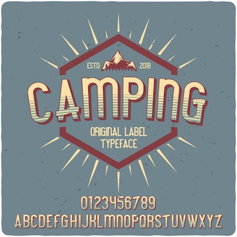 Camping label schrift