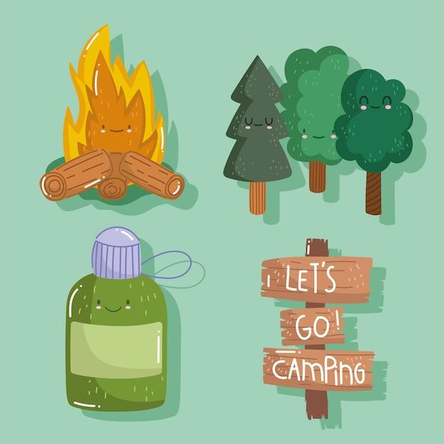 Camping lagerfeuer wasserflasche waldbäume in cartoon-stil gesetzt