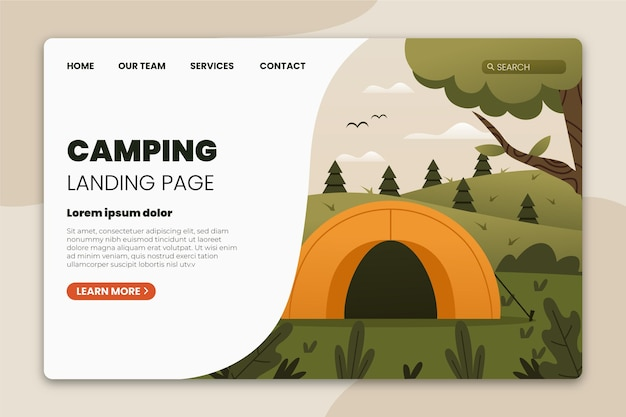 Camping landing page vorlage mit zelt