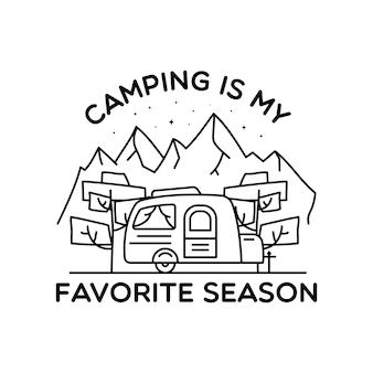 Camping line art logo-design. lineares abzeichendesign für vintage-abenteuer. outdoor-wappenlabel mit bergen und wohnmobil-anhänger. reise-silhouette-emblem isoliert. lager isoliert.