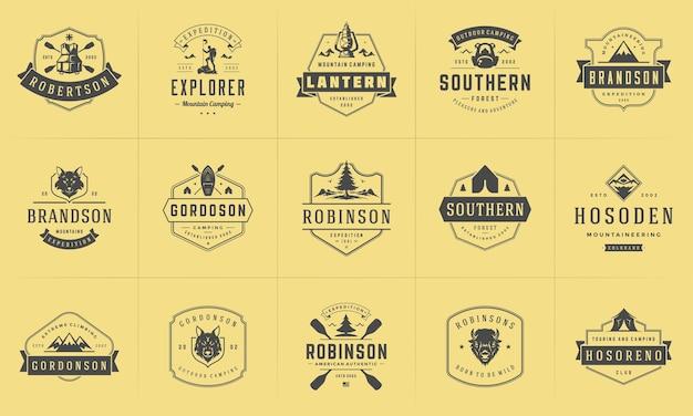 Camping logos und abzeichen vorlagen design-elemente und silhouetten gesetzt