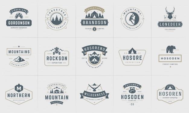 Camping logos und abzeichen vorlagen elemente und silhouetten gesetzt