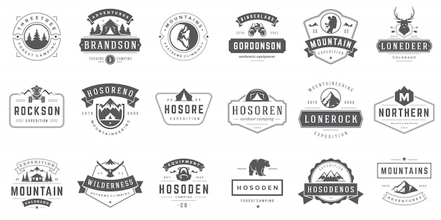 Camping logos und abzeichen vorlagen