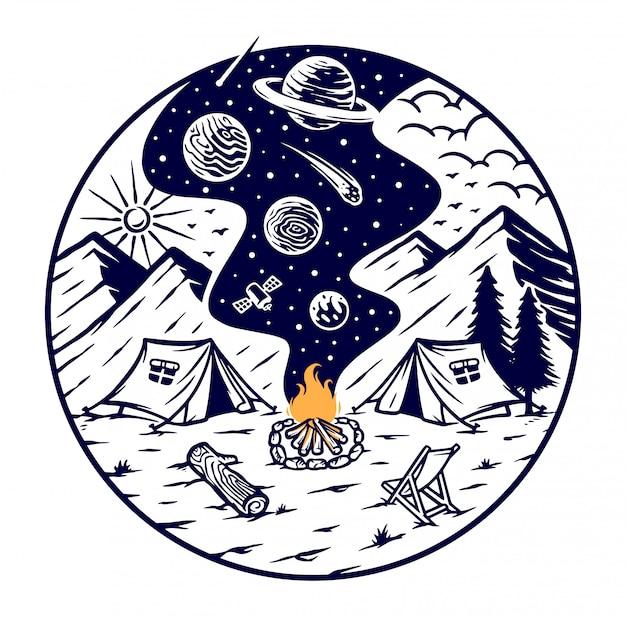 Camping mit dem feuer des universums