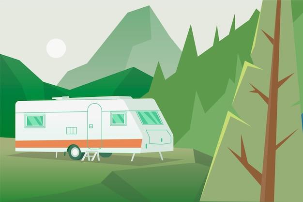 Camping mit einem wohnwagen