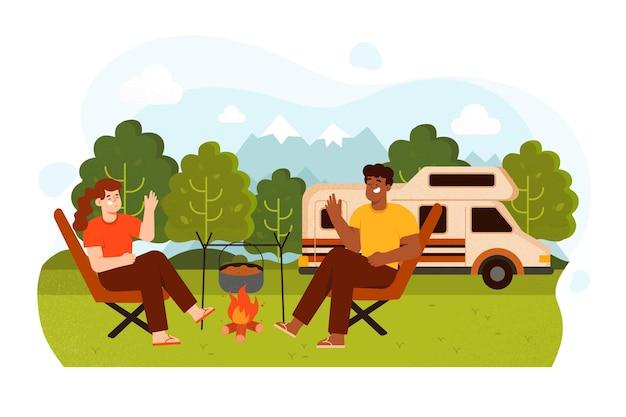 Camping mit einer karawanenillustration