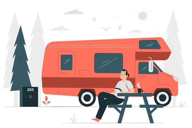 Camping mit einer karawanenkonzeptillustration
