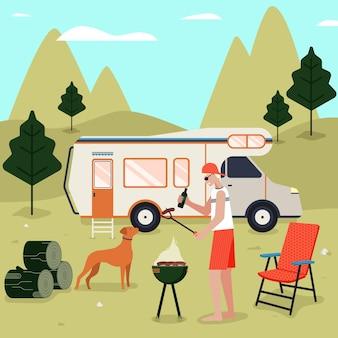 Camping mit wohnwagen-design