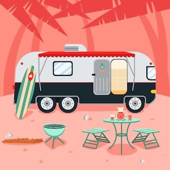 Camping mit wohnwagenkonzept