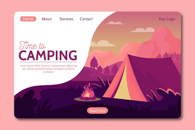 Camping mit zelt landing page style