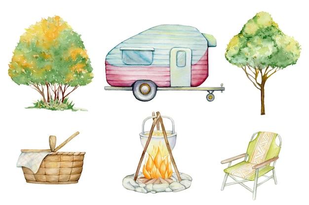 Camping-mobilheimstuhl baumkorb aquarell-set für den tourismus