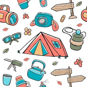 Camping nahtlose muster im flachen design-stil