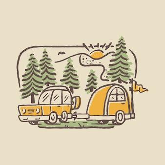 Camping natur abenteuer wild line abzeichen patch pin