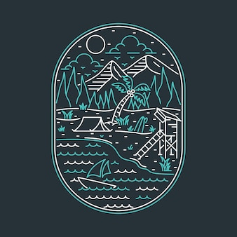 Camping natur abenteuer wilde linie abzeichen patch pin grafik illustration kunst t-shirt design